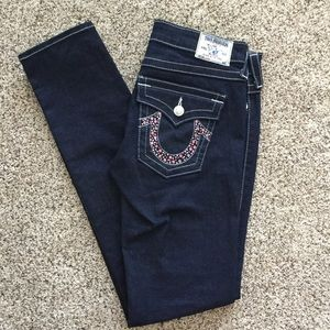 True Religion Julie Skinny Jean with pink stones